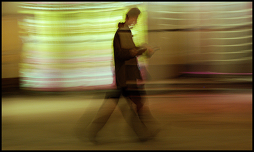 man in hurry