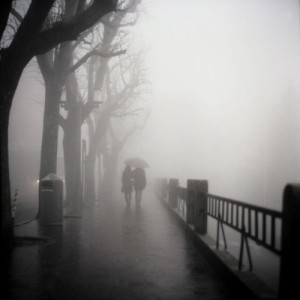 couple in fog