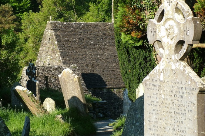 St-Kevins-Church-and-tombstones-Glendalough-Ireland
