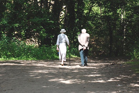 old couple in woods