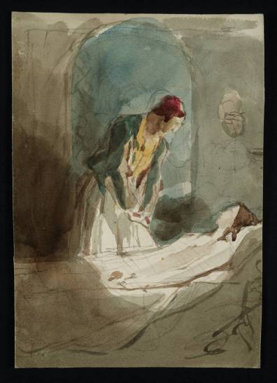 Woman Standing by a Deathbed null by Sir David Wilkie 1785-1841